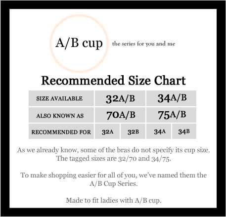 AB cup series measurement chart