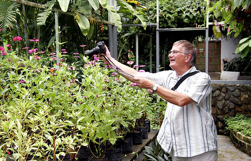 Dad photographing butterflies