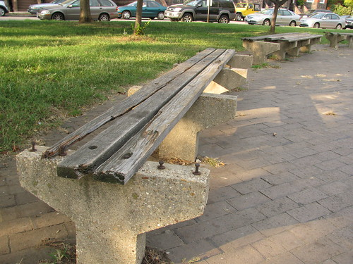 Restoration of park benches in Eastern Market Square Park, before, Peter Riehle Eagle Scout project