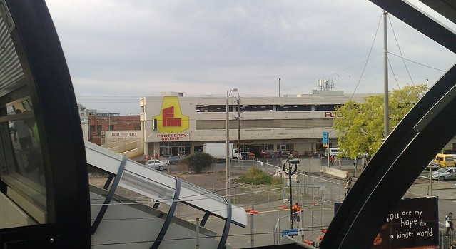 Footscray station bridge: View of the market