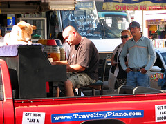 Traveling Piano with Danny Kean in Mexico (TravelingPianoMan) Tags: urban music dog rural truck mexico outdoors piano pickup player danny boner traveling kean