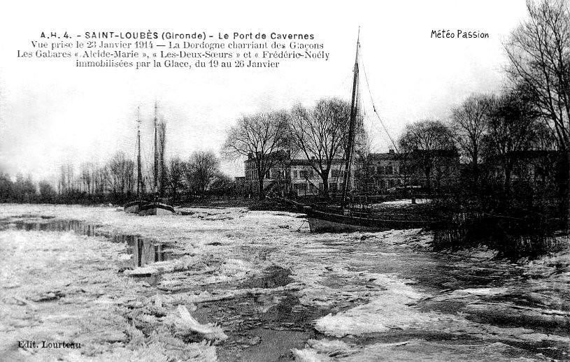 glaces sur la Dordogne gelée à Saint-Loubès le 22 janvier 1914