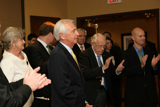 Governor Beshear Listens to Congressman Yarmuth Speak