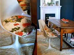 sneak peek...for tomorrow's post. (sfgirlbybay) Tags: chairs fabric diningroom knoll cushions barkcloth sfgirlbybay tulipchairs purenoble