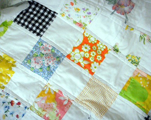 more bits of the vintage fabric and reclaimed linens quilt