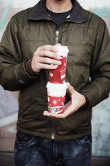 We love the red holiday cups (Pink Scarf) Tags: coffee holding hands cups starbucks drinks latte redcups sigma3014 holidaycups canonxsi colorpoppinaction85 followedbymorningaction