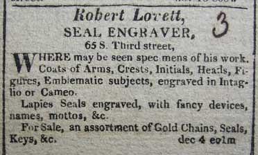 Robert Lovett Seal Engraver ad