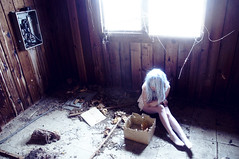 (yyellowbird) Tags: blue camp building abandoned girl hair box boxes cari boyscout