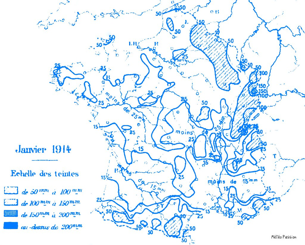 précipitations mensuelles en France en janvier 1914