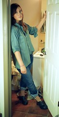 erin b 1 (neohypofilms) Tags: door green girl female hair bathroom eyes waiting candid jeans doorway clogs denim series casual mules platforms