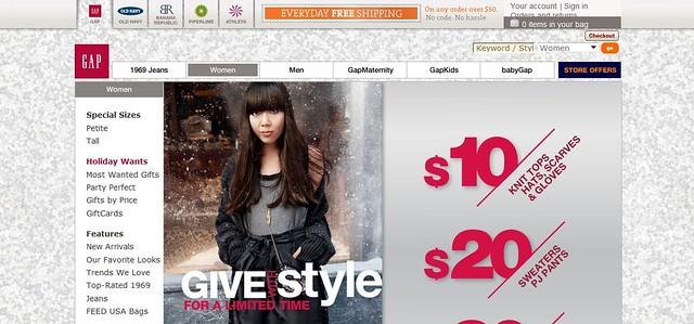 Gap holiday website
