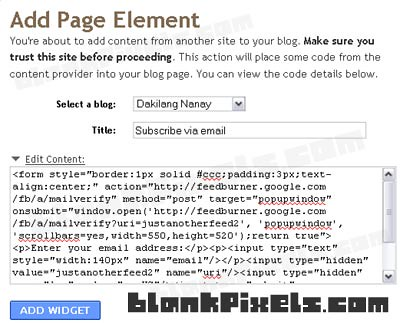 Add Page Element on Blogger - blankpixels.com