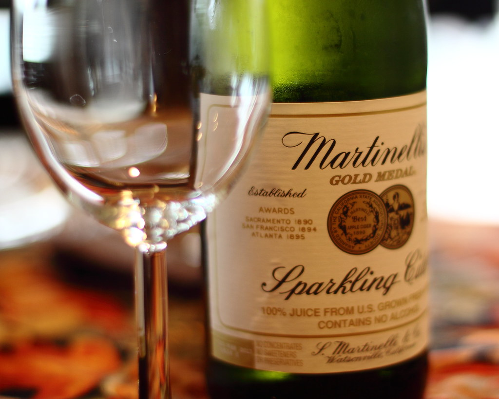 Martinelli's sparkling cider and wine glass.
