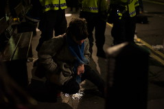'kettled' protester makes a point about not being able to leave and find a toilet! (Rupert Rand) Tags: uk london pee westminster toilet whitehall peeing studentprotests londonprotests policeprotest kettling studentprotesters tuitionfeesprotests coalitionprotests londonprotesters girlspees