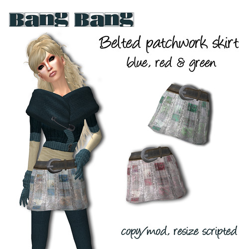 Bang Bang - Belted patchwork skirt