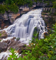 We're off to Inglis Falls Ontario (Nathan Bergeron Photography) Tags: longexposure trees ontario canada water waterfall nikon rocks niagara falls greens cascade squarecrop owensound niagaraescarpment nikkorlens 1635mm gnd inglisfalls sydenhamriver leefilters d700 nikkor1635mm thebigstopper nikon1635mm gnd10