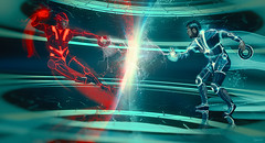 """""""On the other side of the screen, it all looks so easy"""" (dracorubio) Tags: blue me self movie lights fight friend inspired fanboy tron collaboration"""