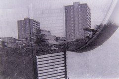 re-photograph1 (translated10) Tags: shadow blackandwhite bw 35mm found grey photo apartments surrealism gray photograph memory layers chance distance recollection smethwick