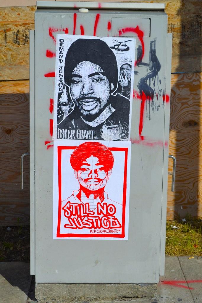 Street Art, NMG, Graffiti, Oakland, poster, Oscar Grant, Still No Justice