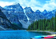 A September Morning at Moraine Lake (Jeff Clow) Tags: morning trees lake canada mountains nature landscape alberta albertacanada banffnationalpark morainelake mountainrange canadianrockies glaciallake