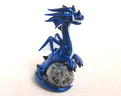 Polaris the Dice Dragon (DragonsAndBeasties) Tags: blue sculpture dice cute statue silver star geek crystal magic small chibi diamond polymerclay fimo gaming fantasy gift tiny dungeonsanddragons kawaii sculpey etsy boardgame custom figurine sapphire polaris premo 20sided