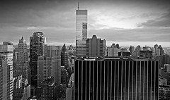59380024 (McGography) Tags: nyc newyorkcity bridge blackandwhite bw building film brooklyn 35mm office fuji skyscrapers nathan minolta suspension manhattan steel cables nightime nate brooklynbridge 100asa nycskyline acros x700 rokkor mcgarigal