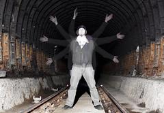 8 armed ghost (Mondino1980) Tags: blue light shadow red 3 vortex man flower london wool wheel train fire jump wire rust track ghost orb 8 tunnel led raymond lay armed connaught mondino murphyz