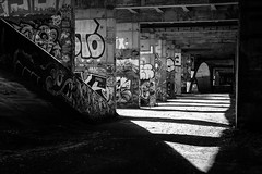 The Dragon's lair (Vanvan_fr) Tags: monochrome nb bw blackandwhite noiretblanc pont bridge pontnapoléon napoleonbridge underthebridge loire fleuve river loireriver ilesimon valleyofloire valléedelaloire graffiti graff art streetart ombres shadows lightandshadows ombreetlumière dark dragon lair antre béton concrete perspective urban urbain tours city ville tourscity touraine photo france nikon nikondf df 50mm nikkor50mm18g