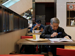 """""""food... for thought"""" (hugo poon - one day in my life) Tags: xt2 23mmf2 hongkong central queensway admiralty canteen eating lunch solitude aged foodforthought"""