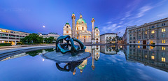 _MG_0089_web - Karlsplatz in blue hour (AlexDROP) Tags: 2017 vienna wien austria österreich travel architecture bluehour longexposure color city wideangle urban nighttime scape landmark church monument canon6d ef16354lis historicalplace best iconic famous mustsee picturesque postcard panoramic hdr