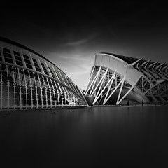 Black is back (Explore #156) (s.f.p.) Tags: black white art long exposure ciudad artes ciencias futuristic city arts sciences santiago calatrava architectural arquitectura blanco y negro larga exposicion nobody 11 format canon 5d mark ii valencia spain museum minimal