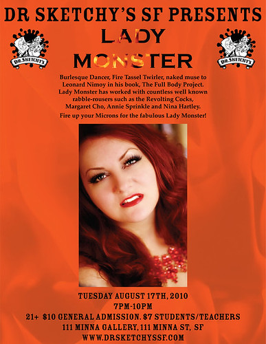 Tuesday August 17th, Dr Sketchy's SF presents LADY MONSTER
