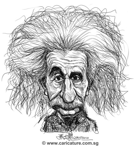 digital caricature sketch of Albert Einstein
