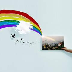 Everything you can imagine is real. (Salma Alzaid ) Tags: sky cloud inspiration birds fairytale painting design rainbow magic picture photograph shade reality imagination sunray shdow canavas salmaphotography photomainipualtion salmaz