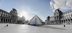 Louvre (AO-photos) Tags: blue sky paris monument museum clouds nikon noir louvre musée fisheye bleu ciel 8mm et blanc pyramides samyang d5000