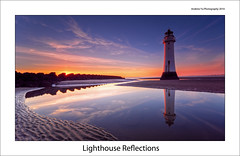 Lighthouse Reflections (awhyu) Tags: new sunset england sky lighthouse rock liverpool reflections coast brighton northwest perch wirral colorphotoaward