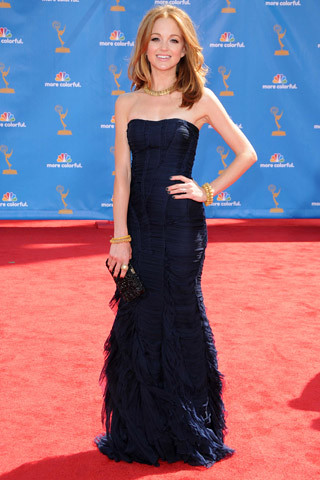 Jayma Mays, in Burberry, with a Salvatore Ferragamo clutch and Neil Lane jewels