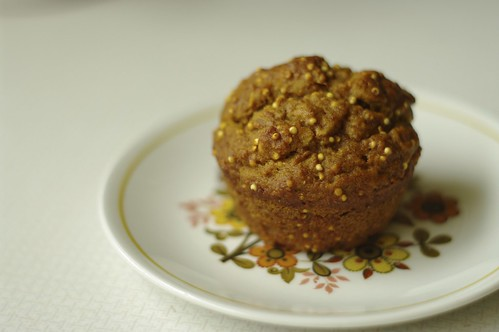 Pumpkin Muffins with millet, cinnamon, ginger and nutmeg