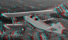 One Six Right (Anaglyph 3D) (patrick.swinnea) Tags: california movie airplane dvd stereoscopic stereophoto 3d aircraft anaglyph biplane vannuysairport onesixright