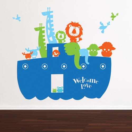 baby wall stickers; kids-decal-noah-boat-blue
