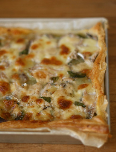 tortadi acciughe, patate e mozzarella
