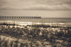 """""""Simple things bring them to mind like a pale blue sky, gentle wind or even a storm cloud on the horizon."""" (anniebluesky.*) Tags: ocean sky beach clouds pier pensacolabeach seaoats 50mmf14s nikond40 anniebluesky margaritavillebeachhotel"""
