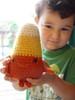 Jude and the candy corn (yarniganrachel) Tags: cute halloween wool monster felted stuffed candy crochet softie kawaii amigurumi crocheted candycorn anthropomorphic yarnigans