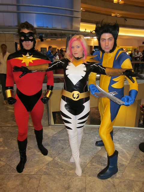 Captain Marvel, Songbird, and Wolverine at DragonCon 2010