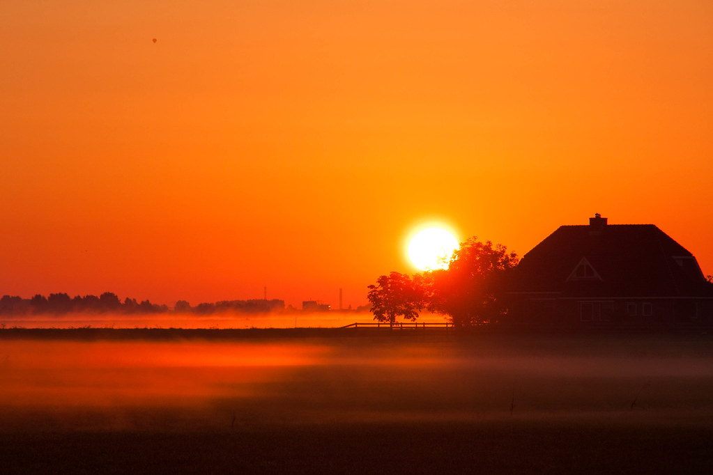 slight mist on the ground and sunrise in the early morning 05