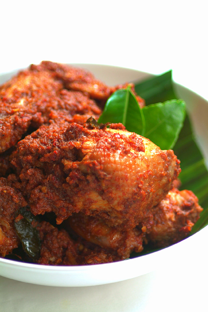 Rendang Ayam Pedas (Spicy Dry Chicken Curry) and Nasi Minyak (Ghee ...