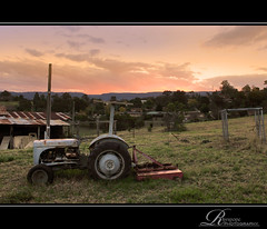 Tractor by the Sunset HDR (rhyspope) Tags: new old morning trees sunset cloud mountain mountains tree green abandoned field grass wales clouds rural sunrise fence landscape countryside high rust gate afternoon dynamic south horizon country shed meadow rusty property australia nsw land shack aussie range crusty hdr paddock hawkesbury kurrajong kurmond