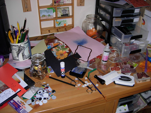 Work (or I should say making a mess) in progress.