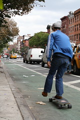 Skateboarder in a bike lane