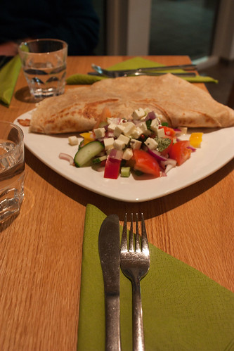 vegetable crepes and salad